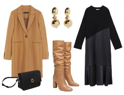 Стильным решением станет сочетание высоких сапог в трендовом оттенке camel и пиджака с идентичной гаммой. Для базы выбери черное платье, чтобы оно контрастно подчеркнуло благородный песочный цвет. Аксессуары под золото будут ярко дополнять твой образ.