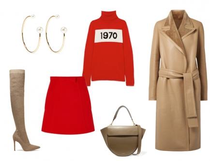 Красный водолазка - базовый предмет гардероба, который напоминает о стиле 70-х. Почему бы не составить образ в такой стилистике? Для этого тебе понадобится красная мини-юбка в форме трапеции (которая не облегает бедра, а слегка расширяется в форме трапеции). Красный верх и красный низ сделают силуэт цельным, что добавит визуальной стройности фигуре. Бежевые ботфорты-чулки и длинное двубортное пальто или дубленка завершат образ в стиле 70-х.