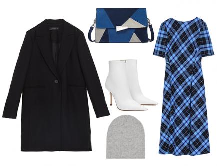 Оригинальным решением станет комплект из платья длины миди с геометричным принтом и базовым пальто до колена. Outfit будет выглядеть гармонично и нетривиально за счет различной длины. Для полноценного образа останется лишь подобрать подходящую пару ботинок.