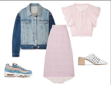 Легкая шифоновая юбка с завышенной талией образует комплект с коротким топом в модном цвете — розовая лаванда. Куртка из денима добавит капельку дерзости. Обувь может быть как и в спортивном стиле — кроссовки в пастельных цветах на высокой платформе. Или же летние плетенные мюли на каблуке.