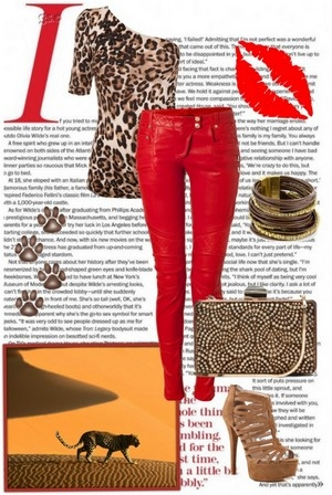 Леопардовый топ на одно плечо очень стильный в сочетании с обтягивающими брюками красного цвета. Образ завершают правильные аксессуары, более спокойных тонов. В таком образе Вы точно не останетесь в тени.