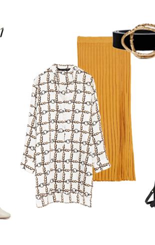 Рубашка с принтом и трикотажной юбкой