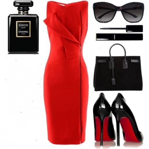 Алое платье и черные аксессуары создают идеальный образ роковой женщины. Хотите свести мужчину с ума - смело выбирайте это сочетание.