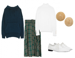 Клетчатая юбка с вязаным свитером
