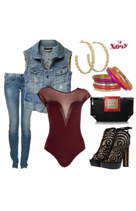 Боди в комплекте с джинсами и джинсовой жилеткой смотрится по-рокерски. Очень сексуально!