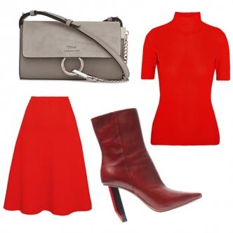 Красный трикотажный костюм в духе Виктории Бекхэм, состоящий из юбки миди и водолазки (возможно, с укороченным рукавом), будет великолепно сочетаться с небольшой сумкой в духе 2000-х и ботильонами на шпильке, с острым носом. Обрати внимание на цвет обуви: сочетание алого с бордо выглядит свежо и не банально, как, например, сочетание красного с черным.