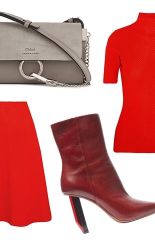 С чем носить красный трикотажный костюм