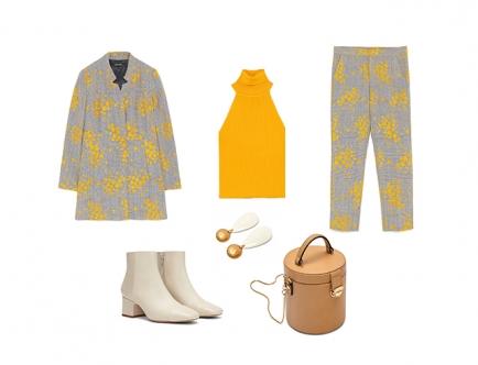 Костюм с ярким желтым принтом отлично впишется в осенние будни. Стильным решением образа станет удлиненная форма пиджака, которая сделает силуэт более вытянутым и максимально стройным.