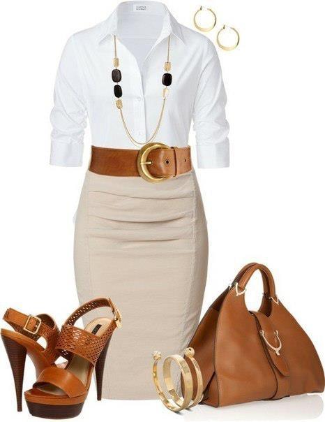 Белая блуза и юбка-карандаш - лучший вариант для офиса. Но как сделать так, что бы он не казался скучным? Нужно совсем немного украшений. Из дорогих металлов, но скромных в дизайне.