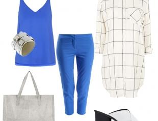 Синие брюки капри и рубашка в клетку