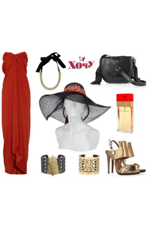 Хороший выбор образа для королевских скачек: роскошная шляпа (без которой на скачки ни ногой), роковое красное платье и немного золотых укршений. Туфли подбирайте под аксессуары (или наоборот).
