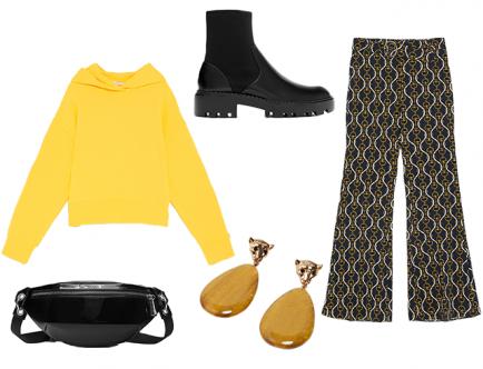 Высшим fashion-мастерством считается умение гармонично создавать многослойные образы и сочетать вещи разных стилей. Объедини спортивный свитшот и атласные расклешенные брюки в один look, а завершить его помогут ботинки на низком ходу в стиле Dr. Martеns.