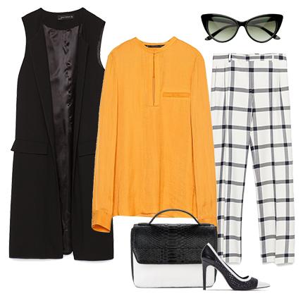 Стильные солнечные очки в духе Dior станут прекрасным отправным пунктом для создания яркого, лаконичного и делового образа этой весной. Шифоновая блуза приглушенного желтого цвета с длинными рукавами, укороченные брюки в крупную клетку, удлиненный черный жакет без рукавов, маленькая сумочка на длинном ремешке и классические черно-белые лодочки смогут многое рассказать окружающим. Например, что перед ними– собранная, уравновешенная, уверенная в себе и очень стильная дама.