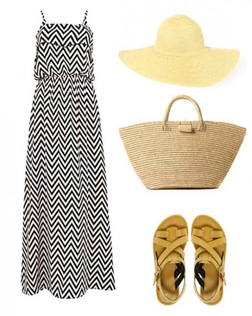 Платье макси с геометрическим принтом шеврон (зиг-заг), охристо-желтые сандалии на плоском ходу, плетеная сумка и широкополая соломенная шляпа - лучший выбор для жаркого дня.