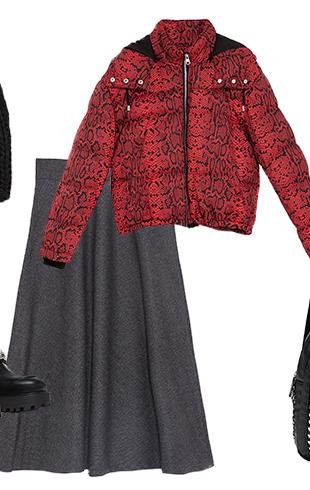 Укороченная куртка с юбкой длины миди
