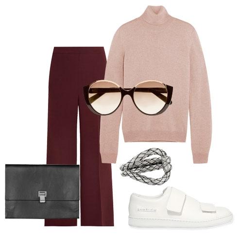 Белые кеды - самая незаменимая обувь осенью 2016. Носи с широкими брюками - классическими или пижамными, объемным свитером или водолазкой, и большим клатчем-конвертом.