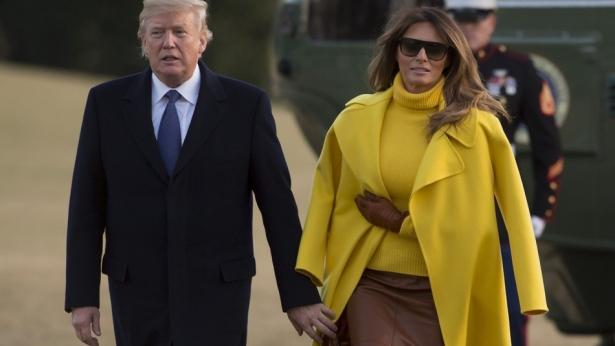 мелания трамп в желтом фото