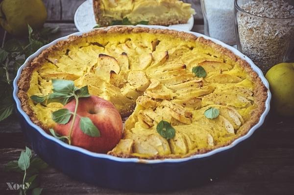 овсяный пирог с яблоками как готовить рецепт