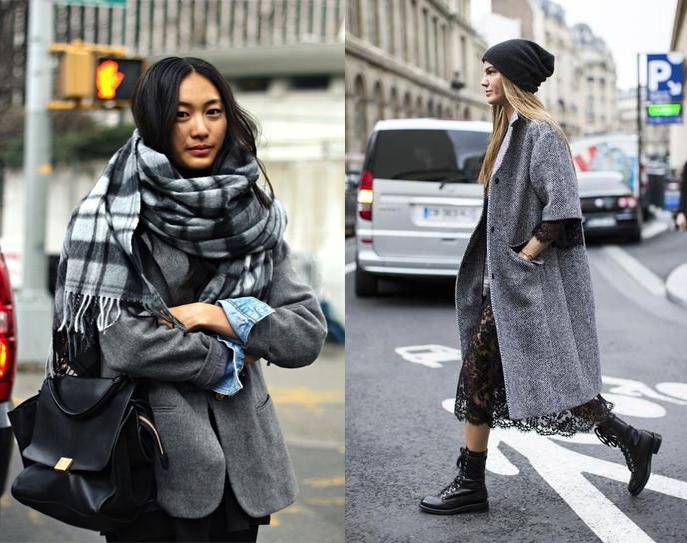 Что носить зимой: серое пальто - фото №1
