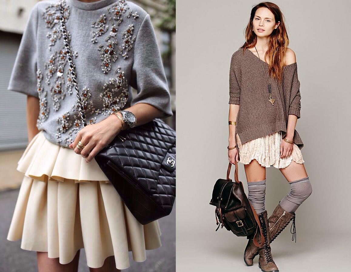 С чем носить мини-юбки в холодное время года - фото №1