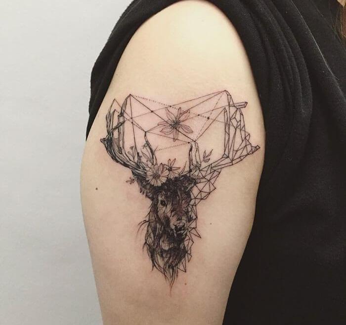 татуировка с животными, татуировка олень
