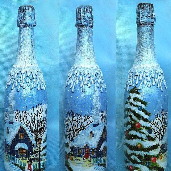 Украшение новогодних бутылок - фото №1