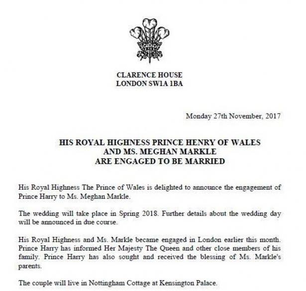 Официально: Кенсингтонский дворец подтвердил помолвку Меган Маркл и принца Гарри
