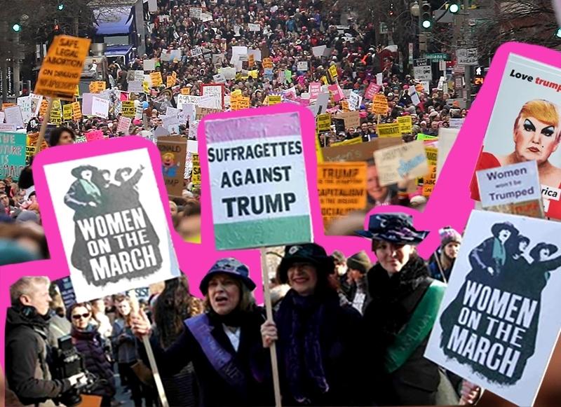 кто вышел на марш против трампа