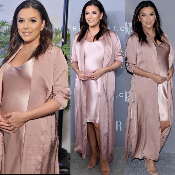 ева лонгория в розовом шелковом платье
