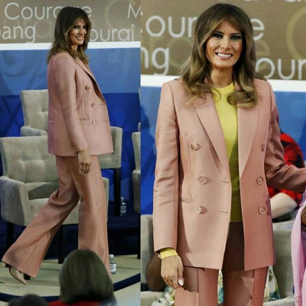 мелания трамп в пудровом костюме
