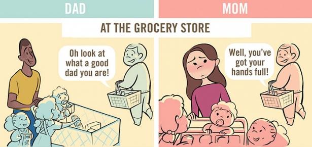 Вы такой милый отец, ну а вы ужасная мать: комиксы продемонстрировали, как по-разному воспринимают родителей разных полов - фото №4