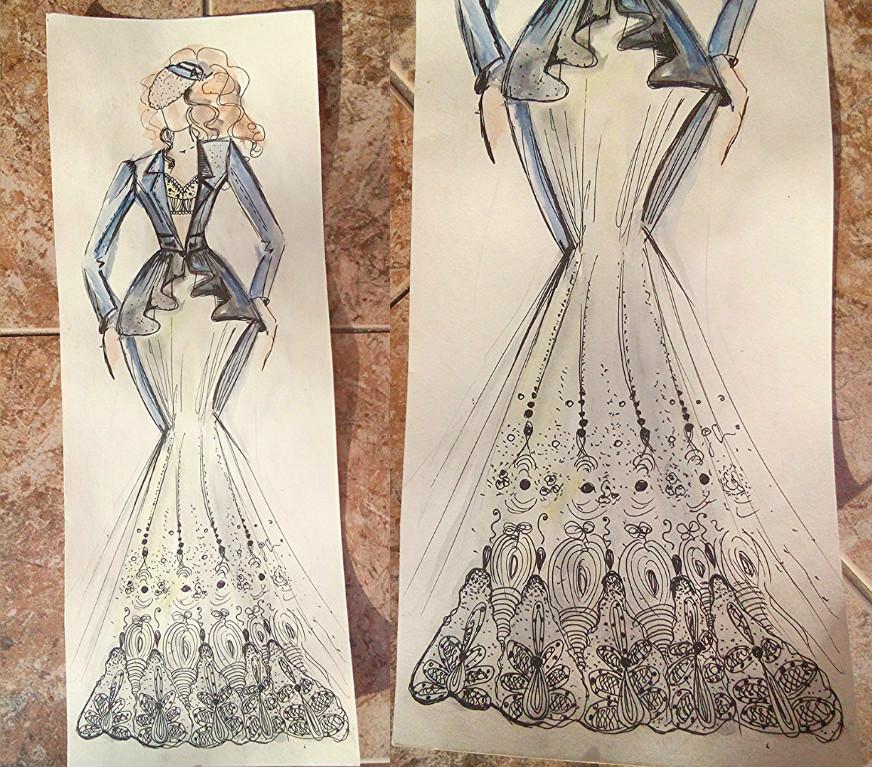 Свадебное платье для Регины Тодоренко. Спецпроект (эскизы+комментарии стилиста) - фото №43