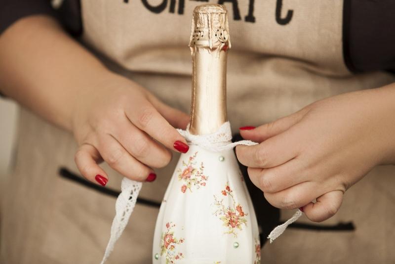 декупаж бутылки шампанского