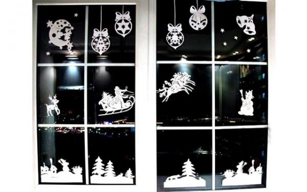 рисунки на окнах новогодние
