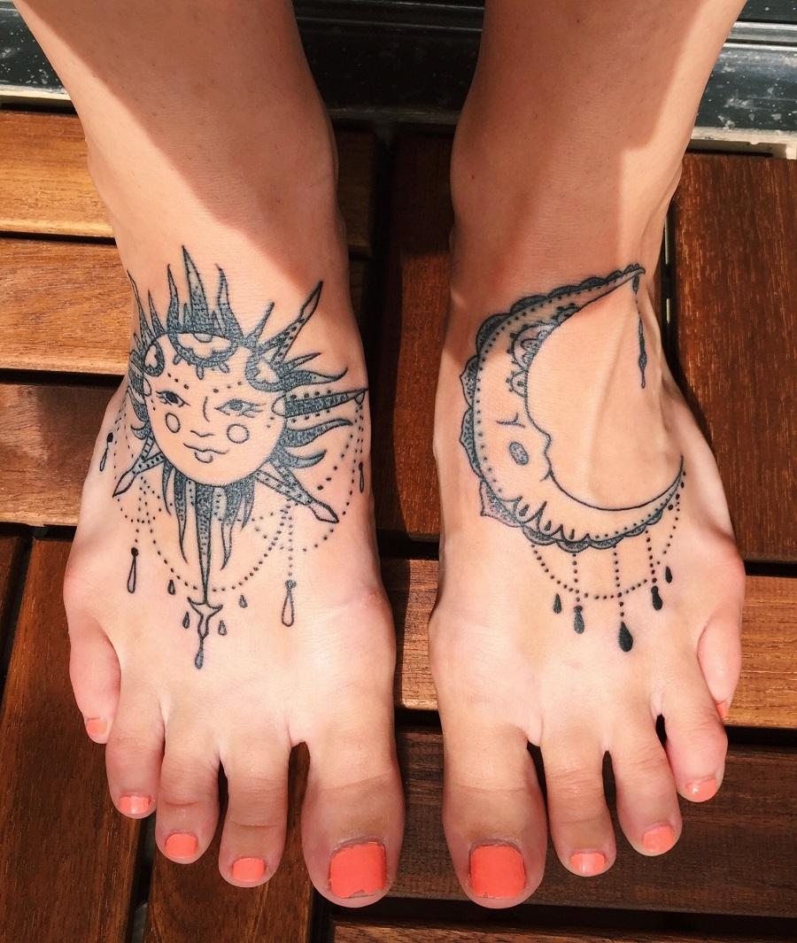 татуировки луна солнце