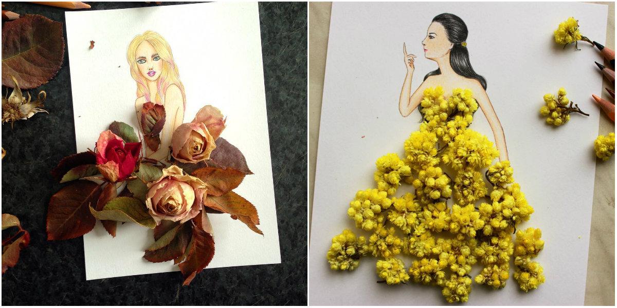 Платье, сотканное из природы: фэшн-иллюстратор создает невероятные эскизы одежды - фото №5