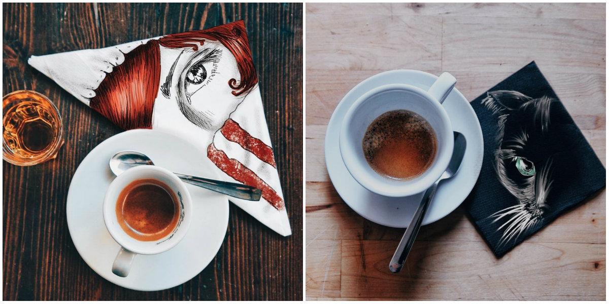 Как можно использовать салфетку, пока пьешь кофе: интересный взгляд художницы - фото №1