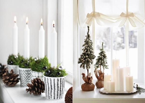 декор окна свечами