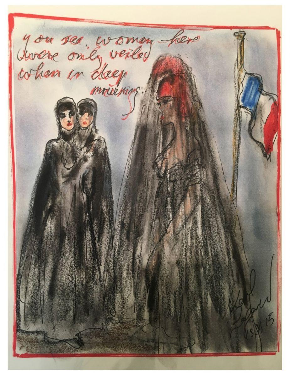 Мода против: дизайнеры создали серию эскизов в ответ на терракты в Париже