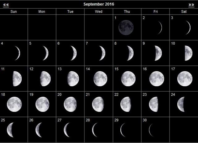Луна в сентябре 2016