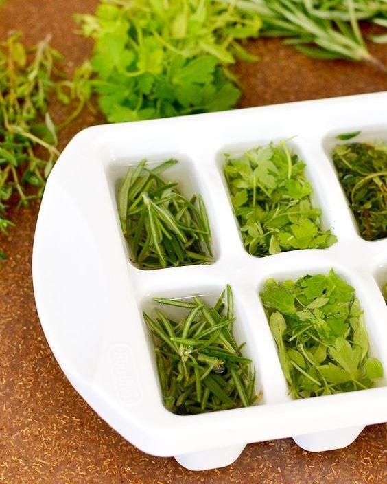 Замороженная в кубиках зелень