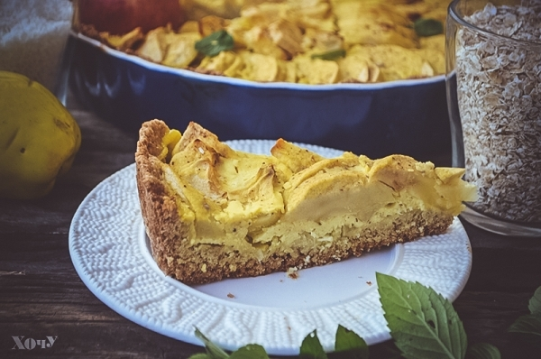 овсяный пирог с яблоками фото