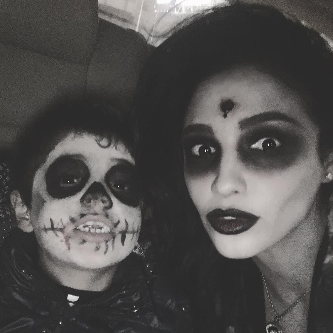 Санта Димопулос с сыном