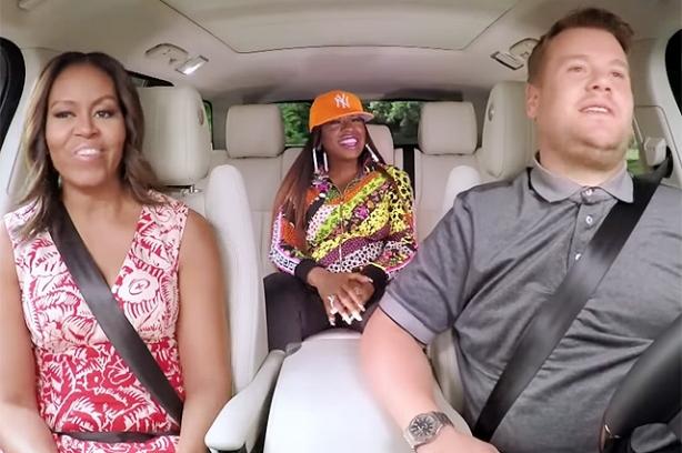 мишель обама в автомобильном караоке