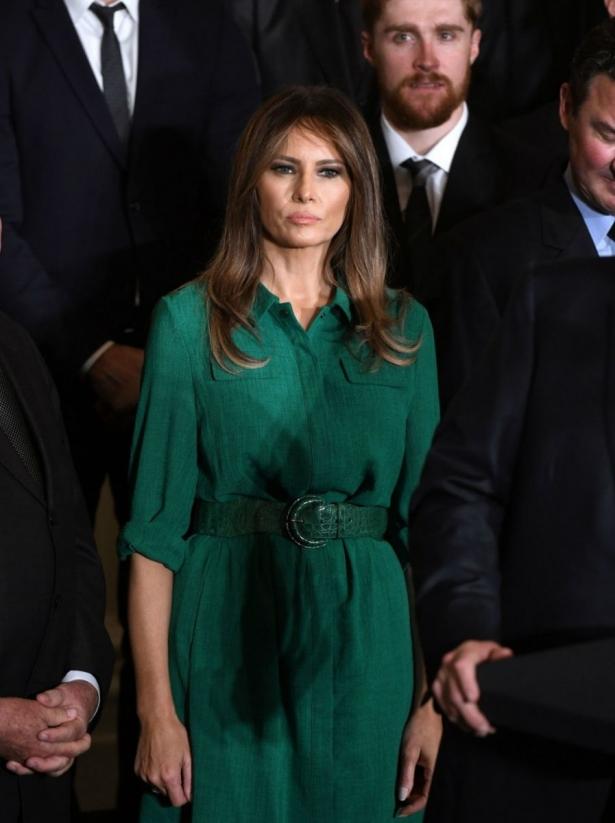 мелания трамп в зеленом платье