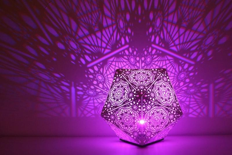 Фиолетовый светильник (сталь, фанера) от бренда insomnia.lab