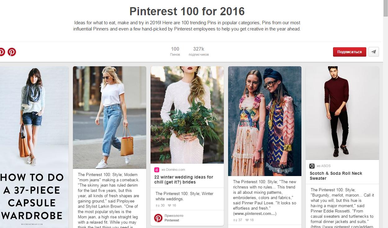 Pinterest назвали 100 трендов 2016 года