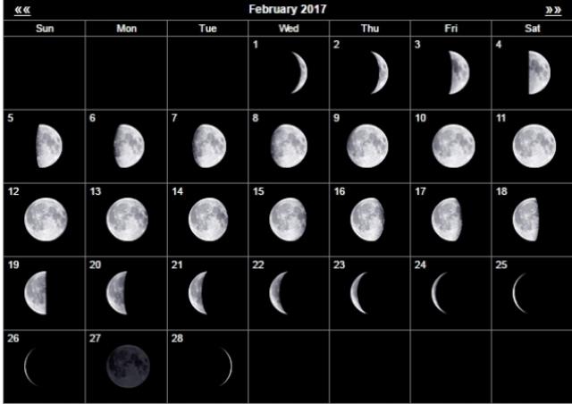 фазы луны в феврале 2017