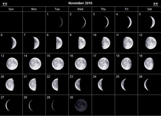 Фазы Луны в ноябре 2016