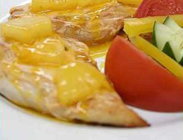 Печень с ананасом
